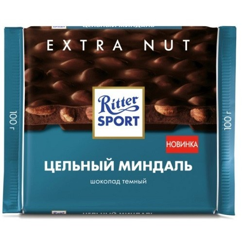 Ritter Sport шоколад темный Цельный миндаль, 100 гр