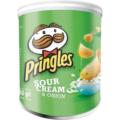 Pringles чипсы картофельные Сметана / Зеленый лук, 40 гр