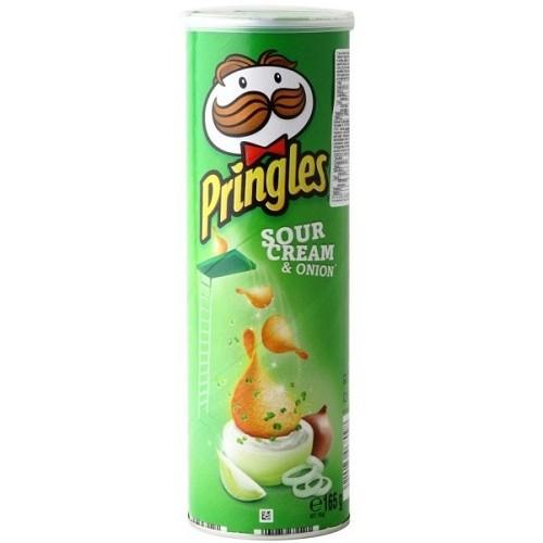 Pringles чипсы картофельные Сметана / Зеленый лук, 165 гр