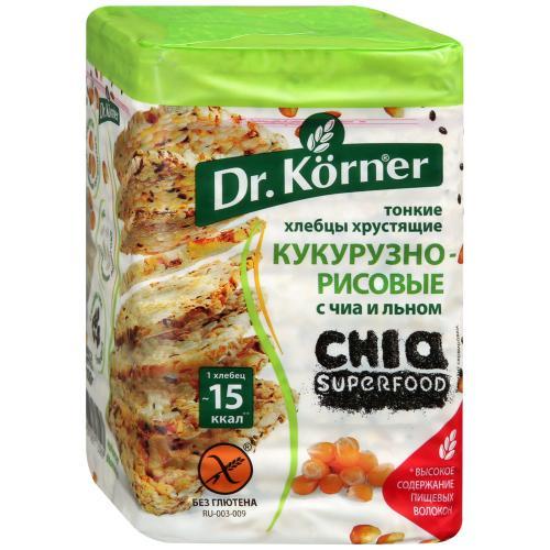 Dr.Korner хлебцы кукурузно-рисовые чиа и лен, 100 гр