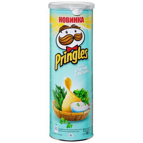 Pringles чипсы картофельные Сметана и зелень, 165 гр