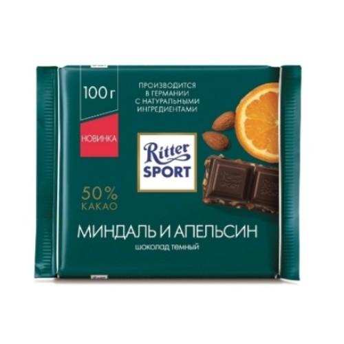 Ritter Sport Темный шоколад, Миндаль и Апельсин, 100 гр