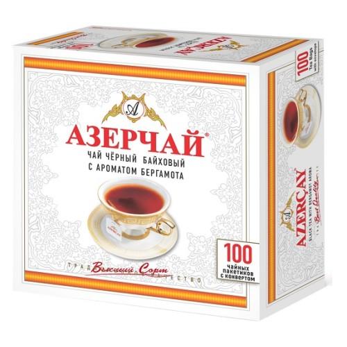 Азерчай черный чай с бергамотом, 100 пакетиков