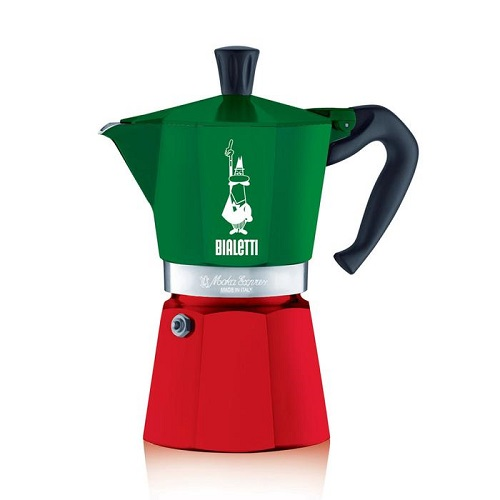 Bialetti Moka Express гейзерная кофеварка на 6 порций, триколор