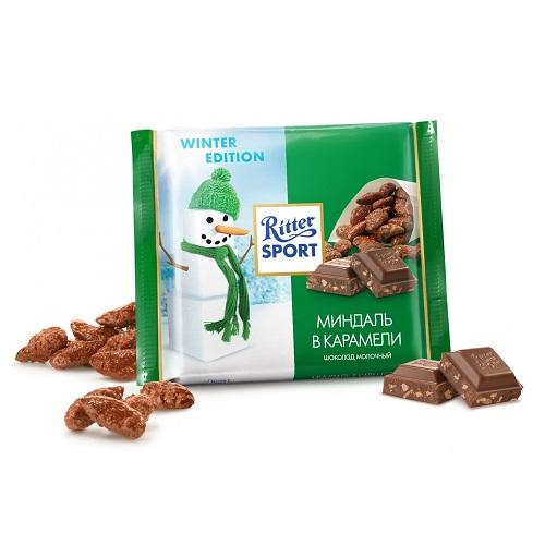 Ritter Sport шоколад молочный Миндаль в карамели, 100 гр