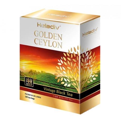 Heladiv черный чай Golden Ceylon, 100 пакетиков