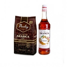 Paulig Arabica Dark + Monin Карамель 1 л