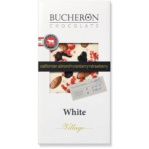 Bucheron шоколад белый с миндалем, клюквой и клубникой, 100 гр