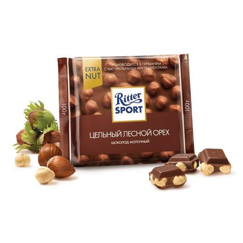 Ritter Sport шоколад молочный с цельным лесным орехом, 100 гр