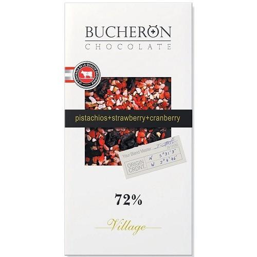 Bucheron шоколад горький с клюквой, клубникой и фисташками, 100 гр