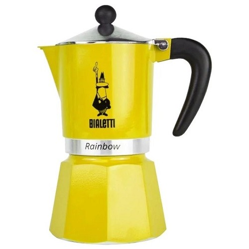 Bialetti Rainbow, желтая гейзерная кофеварка на 3 порции