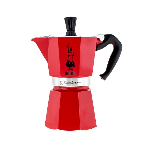 Bialetti Moka Express, красная гейзерная кофеварка на 6 порций