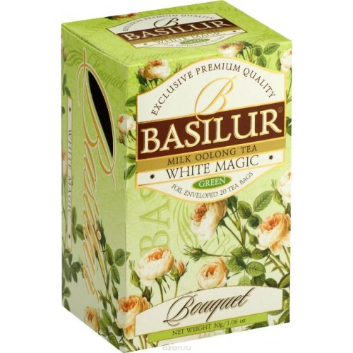 Basilur зеленый чай White Magic, 20 пакетиков