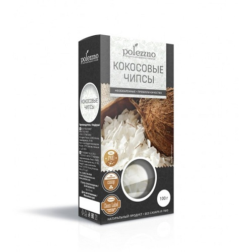 Polezzno чипсы кокосовые, 100 гр