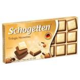 Schogetten шоколад белый с грильяжем и фундуком, 100 гр