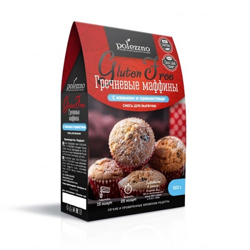 Polezzno смесь для выпечки Гречневые маффины, 320 гр